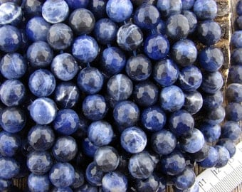 10mm Sodalite Beads, Blue Beads, Sodalite Faceted Beads, Dark Blue Beads, 10 mm Sodalite Gemstone Beads, Natural Beads, Round Beads