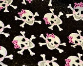 Girl Pink Bow Skulls with Heart Eyes and Crossbones 100% Cotton Fabric with Microglitter
