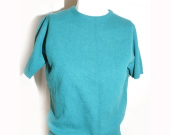 Vintage 1960's Teal Green Cashmere Pinup Sweater