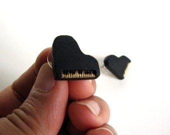 Itsy Bitsy Grand Piano Holly Wood Hand Carved Stud Earrings by Tanja Sova