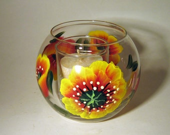 Hand Painted Poppy Candle Holder