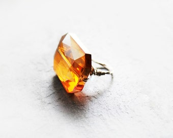 Glass Crystal Ring, Wire Wrapped Ring, Statement Ring, Cocktail Ring, For Her, Silver, Size 6.5, Cosmic Rays Orange Crystal Ring