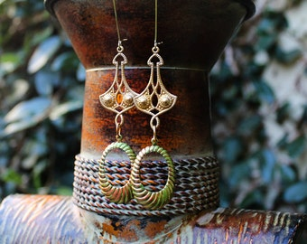 Brass Earrings, Long Earrings, Dangle earrings, Hand Painted Earrings, Hoop Earrings, Lime Green, Lure Lime Green Brass Hoop Earrings