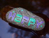 Happy Stone / Painted Rocks / Written on Stone Series / Inspirational Word / River Rocks