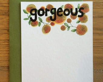 Gorgeous Hand Drawn Text Flower Pattern of Mums on A2 Flat Note Card