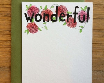 Wonderful Hand Drawn Text Flower Pattern of Begonias on A2 Flat Note Card