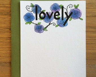 Lovely Hand Drawn Text Flower Pattern of Blue Roses on A2 Flat Note Card