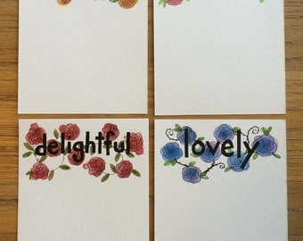 Set of Four Flat A2 Note Cards with Mixed Flower Pattern and Hand Drawn Text