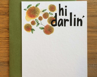 Hi Darling Hand Drawn Text Flower Pattern of Marigolds on A2 Flat Note Card