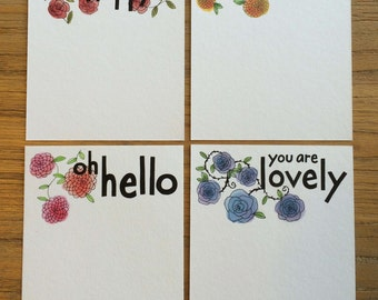 Set of Four Flat A2 Note Cards with Mixed Flower Patterns and Hand Drawn Phrases
