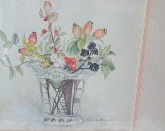 Vintage Original Still Life Flower Vase Watercolor Painting