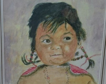 Vintage Native American Indian Girl Watercolor Painting