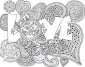 DIY COLORING Page - Instant PDF Digital Download - Printable Coloring Page - Love And Peace - Hippie - Adults - Children