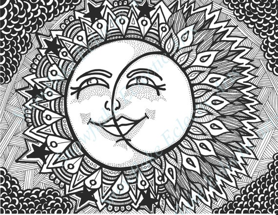 D I Y Coloring Page SUN And MOON Instant By
