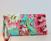 Large Wristlet - Padded Zipper Pouch - Bliss Bouquet