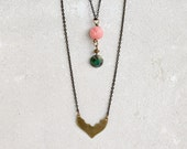 Boho chic set of two layered necklaces, handmade brass, pink lotus flowers, green, moorish moroccan style