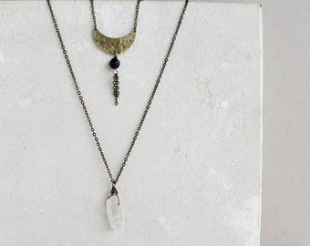 Crescent Moon necklace, Set of two layered necklaces with Crescent Moon, goldstone and crystal quartz point gemstones