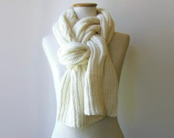 Ivory White Wool Cable Knit Scarf, Hand Knit, Long, Merino Winter Mens Scarf, Womens Scarves, Cute Scarf, Wrap Shawl, Ivory Knit Scarf