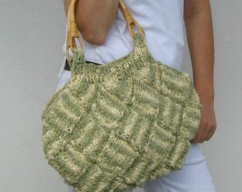 Tote Bag, Knitted Purse, Ivory Green Cotton, Hand Knit Purse, Womens Handbag, Beach Bag, Hobo Bag, Cute Tote, Boho Bag, Summer Handbag