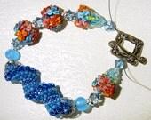 Aqua Garden Lampwork and Spiral Tube Bracelet SRAJD