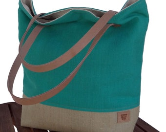 Resort Tote Beach Bag, Large Teal Tote, Market Tote, Burlap Beach Bag, Summer Tote, Tote Bag, Cotton Leather Tote, Resort Bag, Burlap Tote