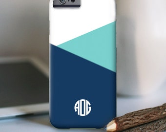 iPhone 7 Personalized Case  - Color Block monogram  - other models available