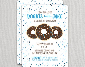 Donut Invitation, Boy Donut Birthday Invitation, Chocolate Donut Party, Printable or Printed - sprinkles on the back side