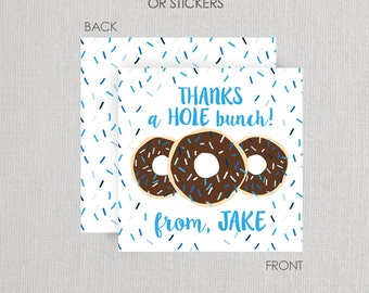 Donut Favor Tags or Stickers . Donut Birthday Party . for Favors, Treat Bags and Envelope Seals - blue and chocolate