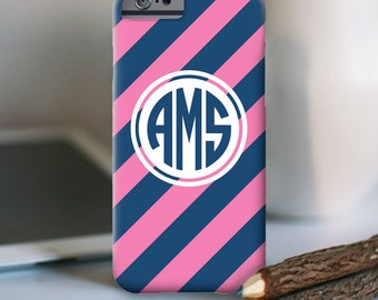 iPhone 7 Personalized Case  - Diagonal Stripe monogram  - other models available
