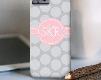 "iPhone 6s monogrammed case - personalized custom iPhone cell phone case - ""polka dots"""