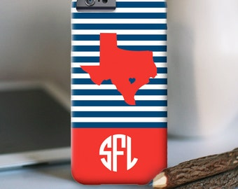 iPhone 7 Personalized Case  - Skinny Stripe State Love (Choose your state)  - other models available