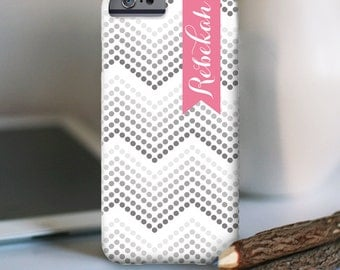 """Personalized iPhone 6s Case and other models, """"ombre dotted chevron design"""""""