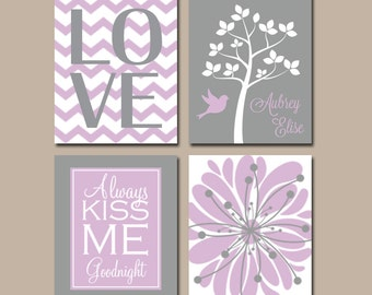Lavender Gray Wall Art, CANVAS or Prints Girl Nursery Artwork Pictures, Custom Personalized Name Kiss Me Goodnight Tree Bird Set of Flower 4