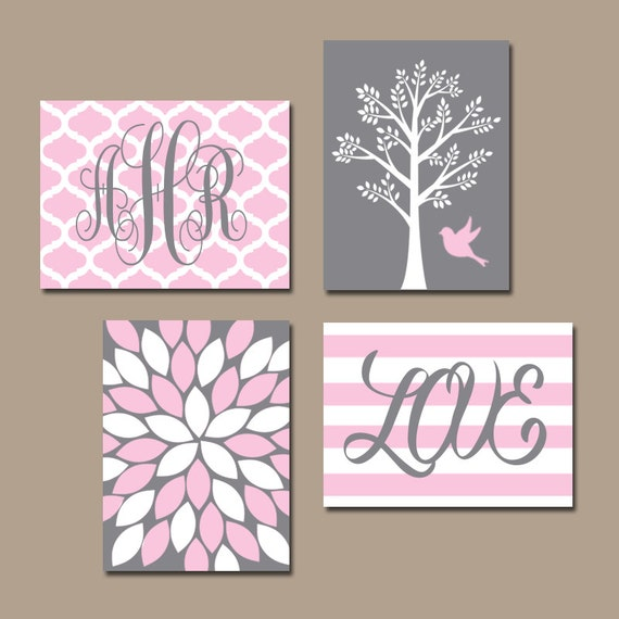 Grey Girl Wall Decor : Pink gray nursery wall art canvas or prints monogram name