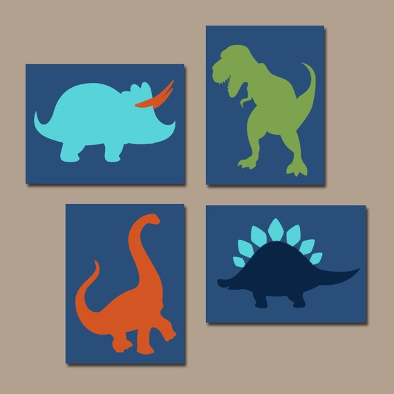 Dinosaur wall art canvas or prints boy dinosaur theme baby for Boys wall art