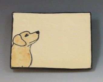 Handbuilt Ceramic Soap Dish with Dog - Yellow Lab