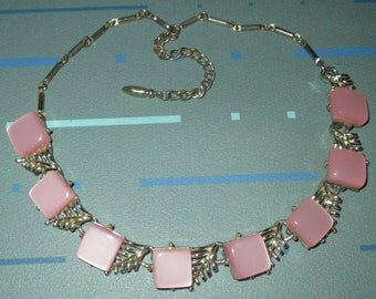 Vintage Coro Pink Square Thermoset Lucite Choker Necklace