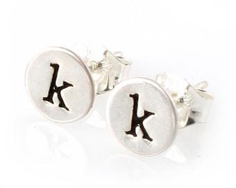Initial Earrings -  Custom Initial Stud Earrings in Sterling Silver