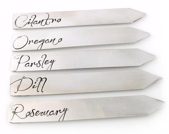 Herb Markers - Hand Stamped in Aluminum - Set of 5 Garden Markers