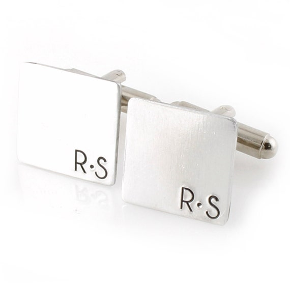 Mens Personalized Cuff Links - Monogram Square Cufflinks - Custom Initial Cuff Links - Perfect Groomsmen Gifts - Gift for Him