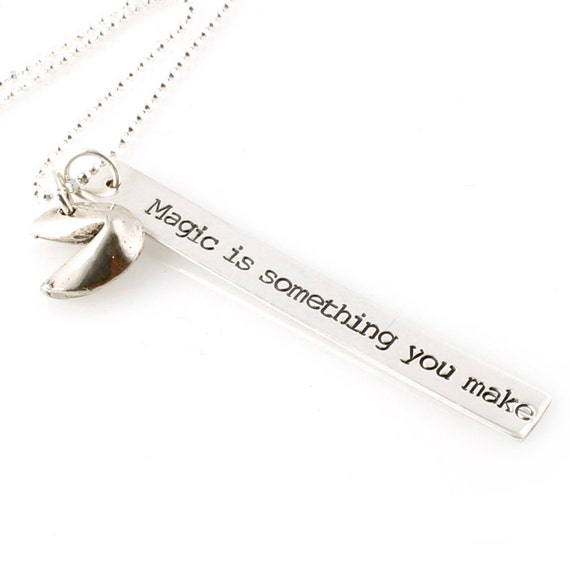 Custom Fortune Cookie Necklace - Personalized Bar necklace - silver plated or sterling silver fortune cookie custom necklace