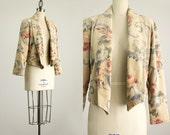 20% Off With Coupon Code! 80s Vintage Romantic Floral Print Cotton Velvet Blazer Jacket / Size Small
