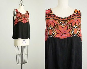 90s Vintage Black And Sienna Tribal Inspired Loose Fit Tank Top / Size Small / Medium