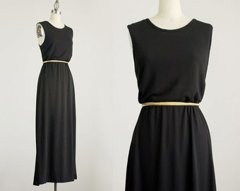 90s Vintage Express Black Minimalist Spandex Maxi Sun Dress / Size Medium / Large