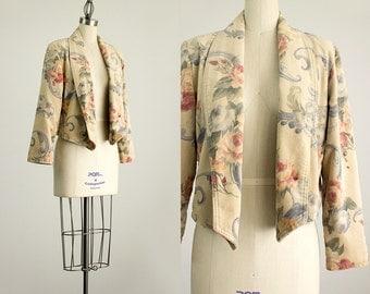 80s Vintage Romantic Floral Print Cotton Velvet Blazer Jacket / Size Small