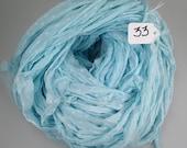 Recycled Chiffon Sari Ribbon, Chiffon Sari Ribbon, textured sari ribbon, Aqua sari ribbon, aqua ribbon