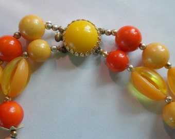 Art Glass Necklace Estate Jewelry Double Strand Necklace West Germany POP of SUNSHINE