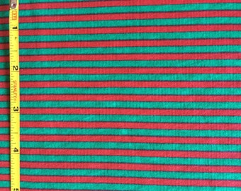 Red and green mini stripe on 100% cotton  jersey knit fabric  1 yard