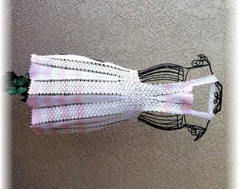 CROCHETED Full Apron in WHITE & PINK