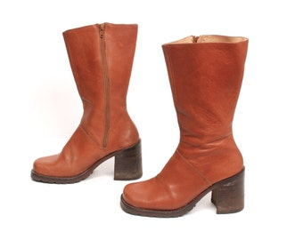 size 6.5 PLATFORM tan leather 80s 90s CHUNKY BOHEMIAN zip up boots